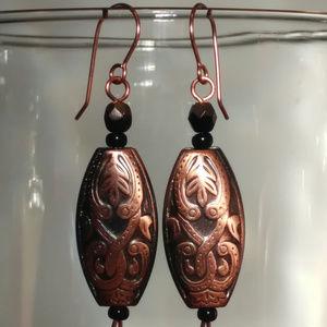 Boho Southwestern Botanical Copper Oval Earrings